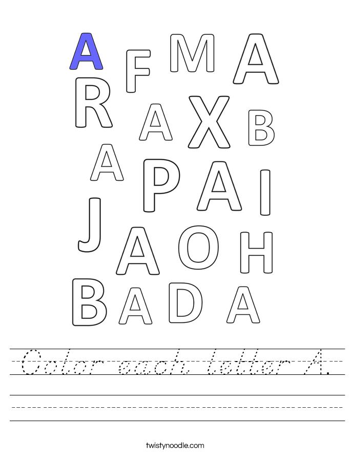 Color each letter A. Worksheet