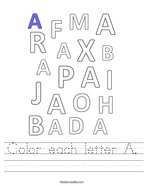 Color each letter A Handwriting Sheet