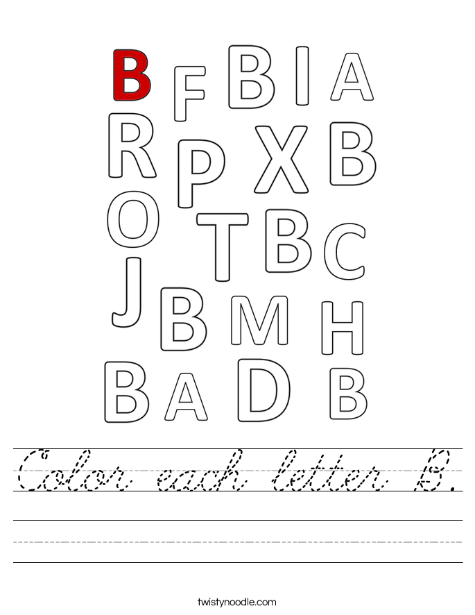 Color each letter B. Worksheet