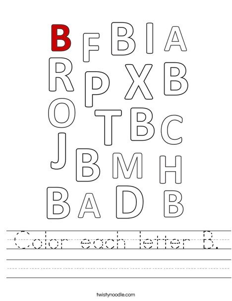 Color each letter B. Worksheet