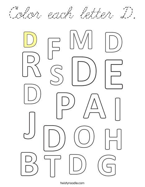 Color each letter D. Coloring Page
