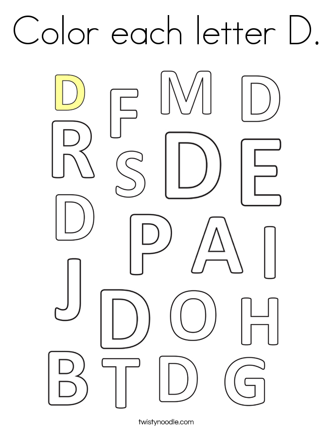 Color each letter D. Coloring Page