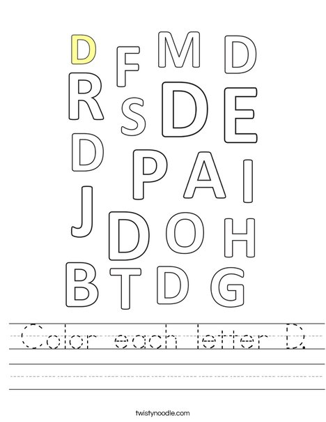 Color each letter D. Worksheet