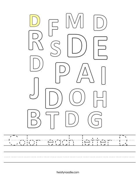Color each letter D. Worksheet
