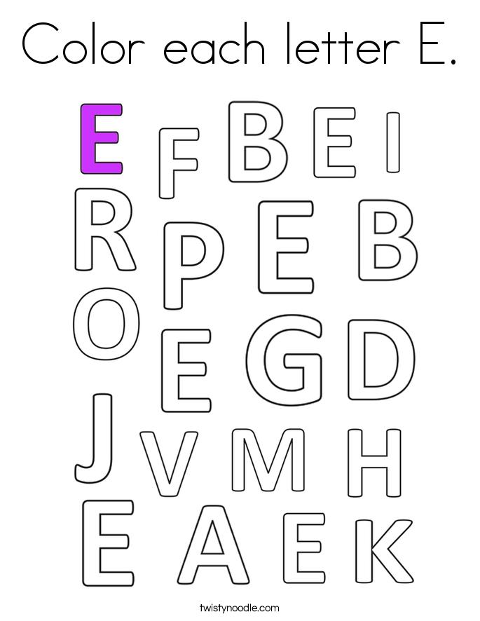 Color each letter E. Coloring Page