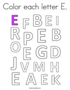 Color each letter E Coloring Page