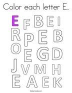 Color Each Letter E Coloring Page