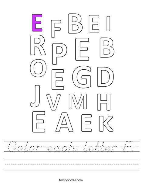 Color each letter E. Worksheet
