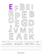 Color each letter E Handwriting Sheet