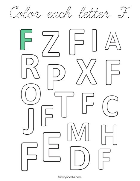 Color each letter F. Coloring Page
