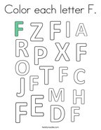 Color each letter F Coloring Page