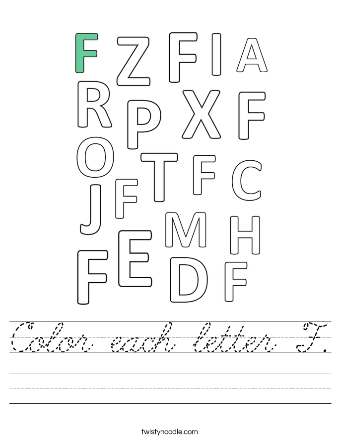 Color each letter F. Worksheet