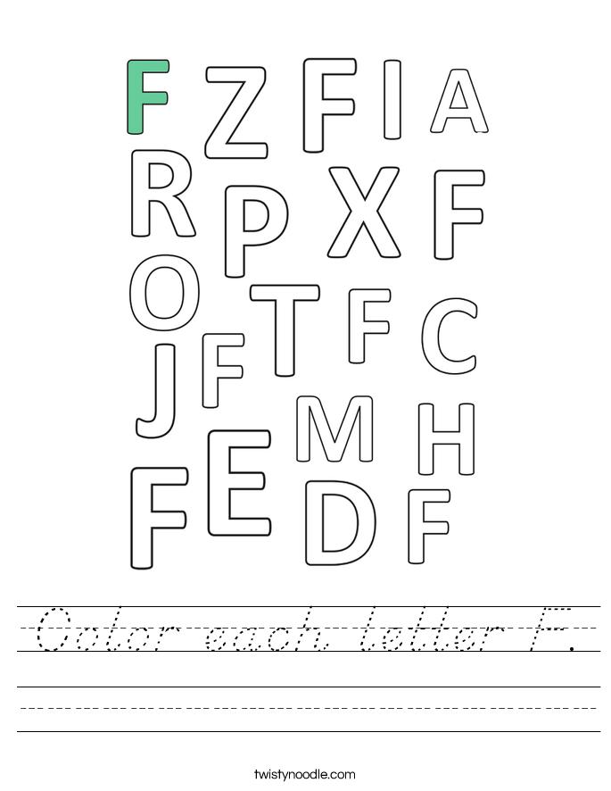 Color each letter F. Worksheet