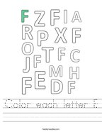 Color each letter F Handwriting Sheet