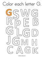 Color each letter G Coloring Page