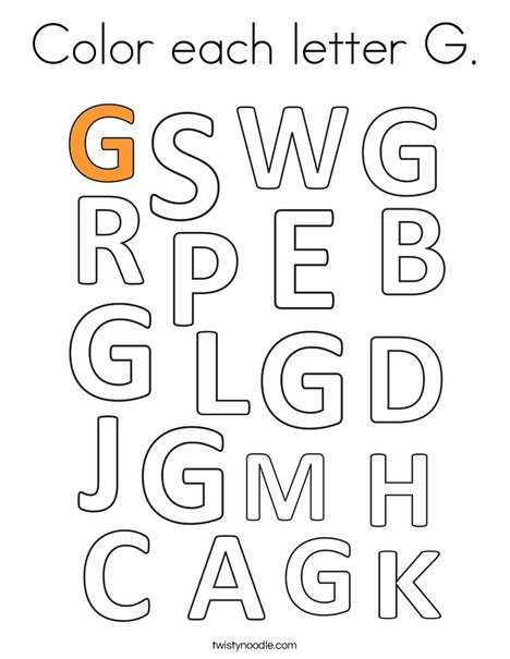 Color each letter G. Coloring Page