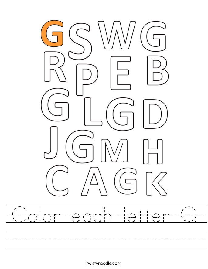 Color each letter G. Worksheet