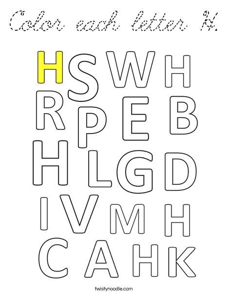 Color each letter H. Coloring Page