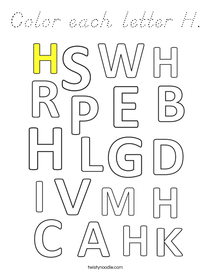 Color each letter H. Coloring Page