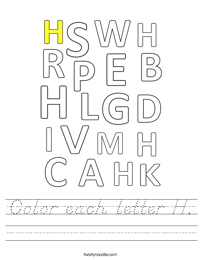 Color each letter H. Worksheet