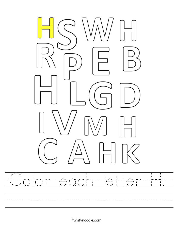 Color each letter H. Worksheet