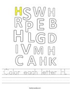 Color each letter H Handwriting Sheet