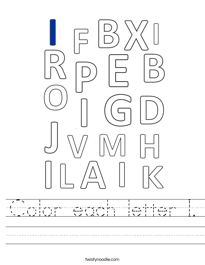 Color each letter I. Worksheet