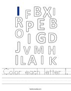 Color each letter I Handwriting Sheet