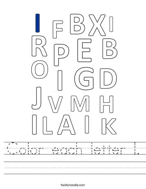 Color each letter I. Worksheet