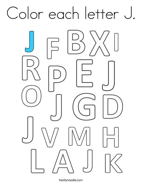 Color each letter J. Coloring Page