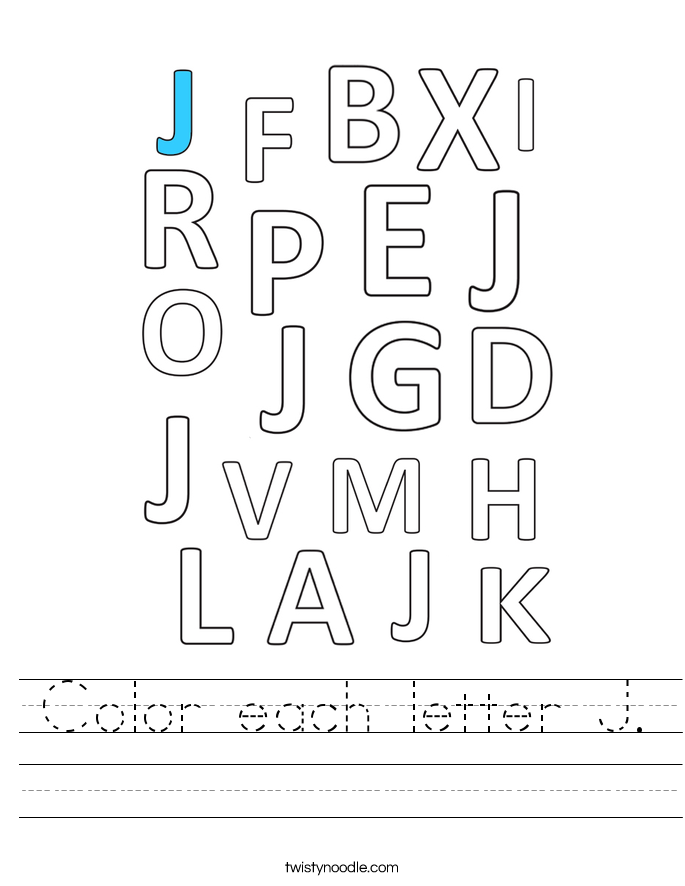 Color each letter J. Worksheet