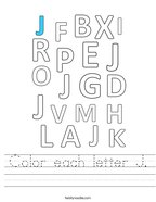 Color each letter J Handwriting Sheet