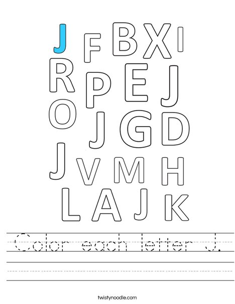 Color each letter J. Worksheet
