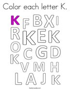 Color each letter K Coloring Page