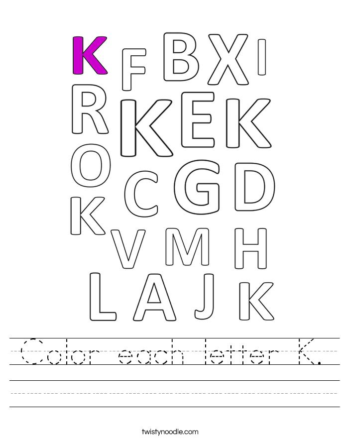 Color each letter K. Worksheet