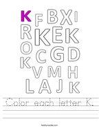 Color each letter K Handwriting Sheet