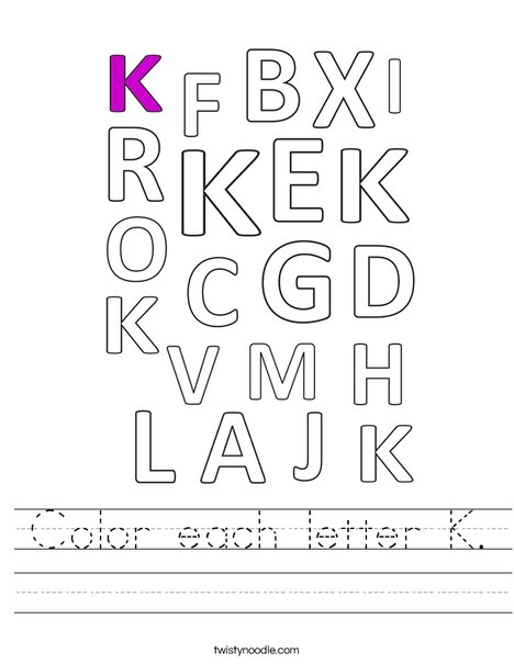 Color each letter K. Worksheet