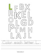 Color each letter L Handwriting Sheet