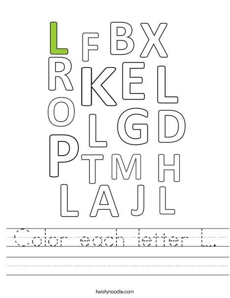 Color each letter L. Worksheet