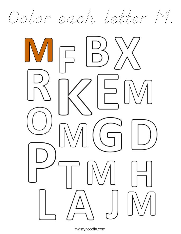Color each letter M. Coloring Page