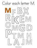 Color each letter M Coloring Page