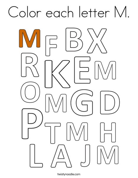 Color each letter M. Coloring Page