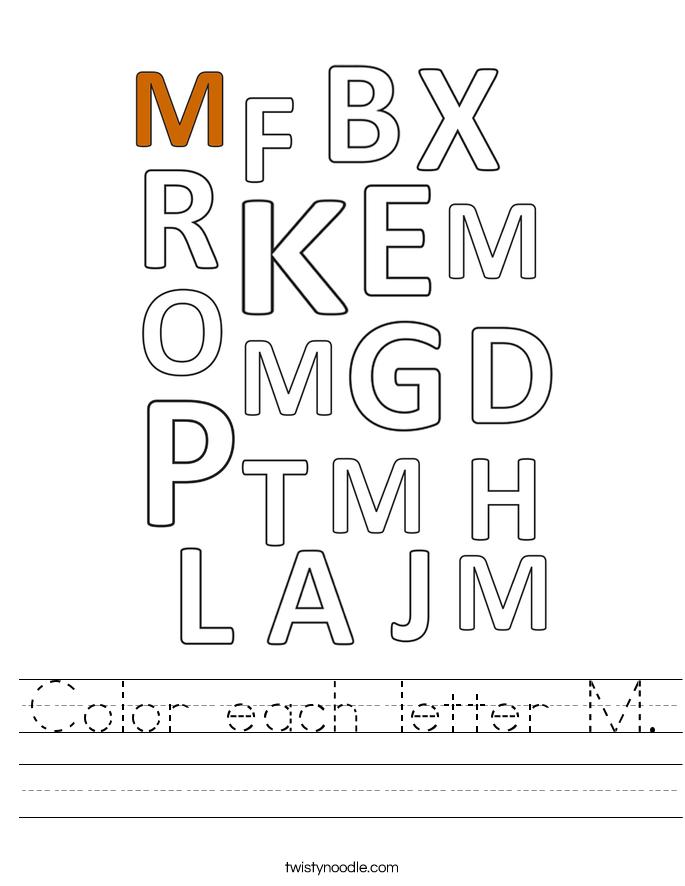 Color each letter M. Worksheet