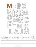Color each letter M Handwriting Sheet
