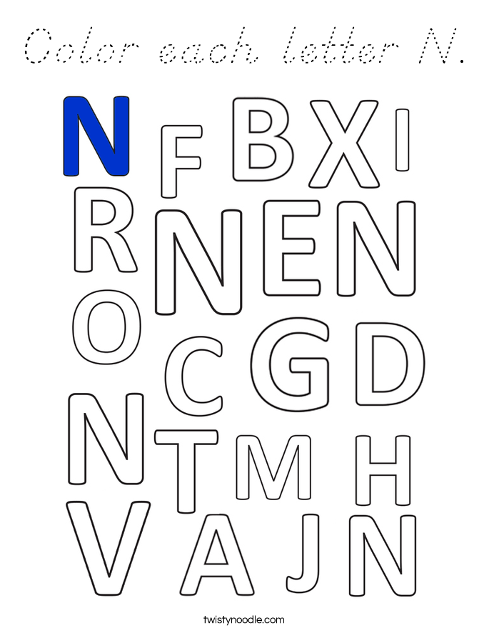 Color each letter N. Coloring Page