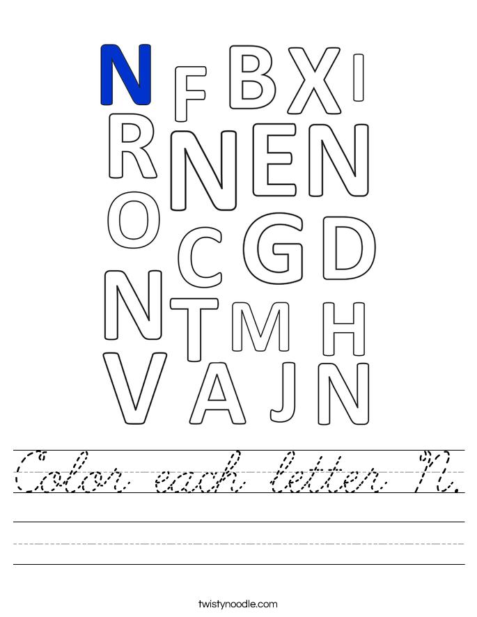 Color each letter N. Worksheet
