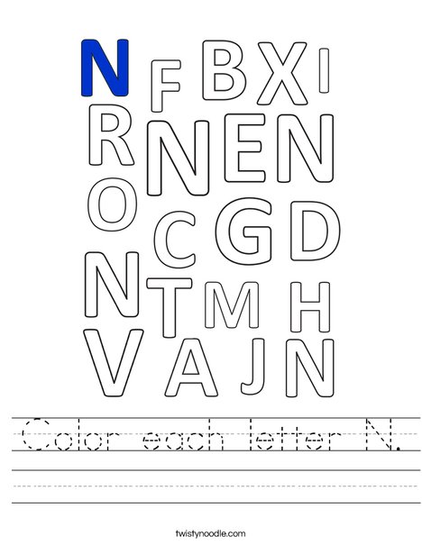 Color each letter N. Worksheet