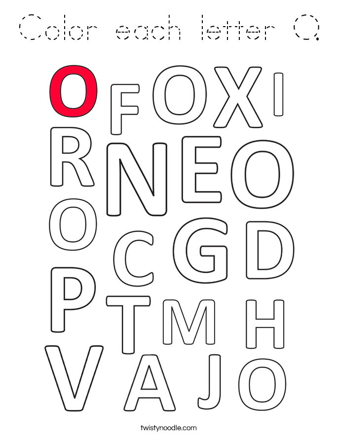 Color each letter O. Coloring Page