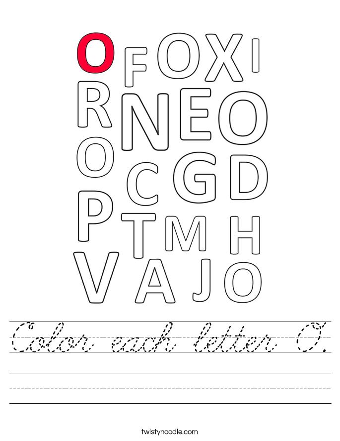 Color each letter O. Worksheet