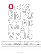 Color each letter O Handwriting Sheet